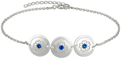 Elegantní stříbrný náramek s modrými krystaly Saphire KA6075_RH