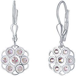 Květinové stříbrné náušnice s krystaly Emma NA6089_RH