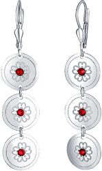 Luxusní stříbrné náušnice s červenými krystaly Ruby NA6080_RH