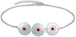 Luxusní stříbrný náramek s červenými krystaly Ruby KA6081_RH