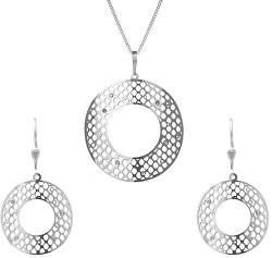 Moderní stříbrná sada šperků s čirými krystaly KO1460S_NA0886_RH  (přívěsek, řetízek, náušnice)