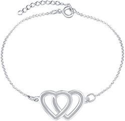 Nádherný stříbrný náramek s propojenými srdci Lovela KA6063_RH