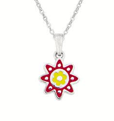 Něžný stříbrný náhrdelník s kytičkou KO8024_BR030_40_RH (řetízek, přívěsek)