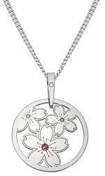 Nežný strieborný náhrdelník Sakura KO5033_CU035_49_RH (retiazka, prívesok)