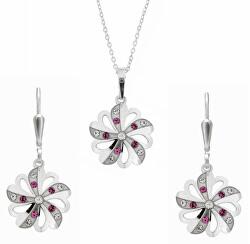 Prekrásna súprava šperkov s kryštálmi KO2097_NA1035_RH (retiazka, prívesok, náušnice)