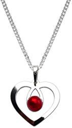 Romantický strieborný náhrdelník Srdce s kryštálom KO1957_CU050_45_RH (retiazka, prívesok)