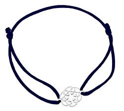 Šnúrkový čierny kabala náramok Mandala KA6202