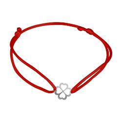 Šnúrkový červený kabala náramok Štvorlístok KA6193