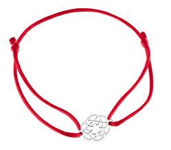 Šnúrkový červený kabala náramok Mandala KA6199