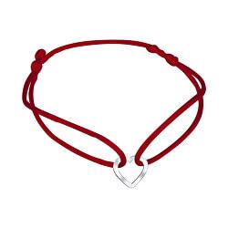 Šnúrkový červený kabala náramok Srdiečko KA6179