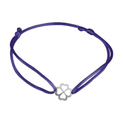 Šnúrkový modrý kabala náramok Štvorlístok KA6197