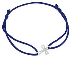 Šňůrkový modrý kabala náramek Křížek KA6217