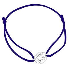 Šňůrkový modrý kabala náramek Mandala KA6203