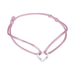 Šnúrkový ružový kabala náramok Srdiečko KA6180