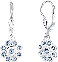 Stříbrné květinové náušnice s modrými krystaly Mia NA6087_RH