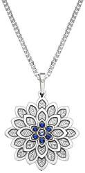 Strieborný náhrdelník Kvetina s kryštálmi KO2016_CU050_45_RH (retiazka, prívesok)