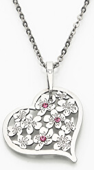 Strieborný náhrdelník s kryštálmi Flowering Heart KO5027_BR030_49_RH (retiazka, prívesok)