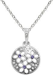 Strieborný náhrdelník s kryštálmi KO1853_BR030_45_RH (retiazka, prívesok)