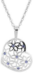 Strieborný náhrdelník Srdce s modrými kryštálmi KO2099_BR030_45_RH (retiazka, prívesok)