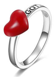 Romantický strieborný prsteň so srdiečkom Storie RZA004