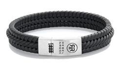 Černý kožený náramek Twisted 925 Black RR-L0131-S