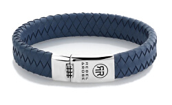 Modrý kožený náramek Braided Flat 925 Blue RR-L0130-S