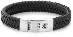 Pánsky kožený náramok Braided Flat Black RR-L0014-N