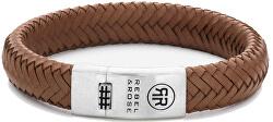 Pánsky kožený náramok Braided Oval 925 - Handsome In Khaki RR-L0088-S