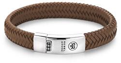 Pánsky kožený náramok Braided Oval - Handsome In Khaki RR-L0041-S