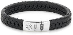 Pánsky kožený náramok Twisted Flat Black RR-L0090-S