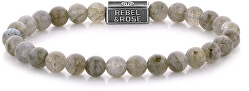 Stříbrný korálkový náramek Labradorite Shield RR-6S005-S