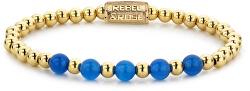 Zlatý korálkový náramek Yellow Gold meets Brightening Blue RR-60066-G