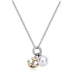 Bicolor náhrdelník s kotvou a perlou DAYS SDY10