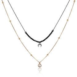 Dvojitý pozlátený náhrdelník s ozdobami Aurora SAR06