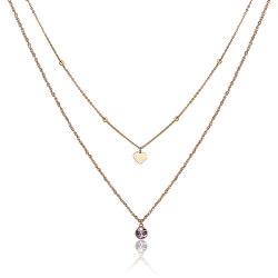 Dvojitý pozlátený oceľový náhrdelník s ozdobami Aurora SAR05