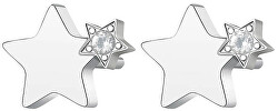 Elegantné oceľové náušnice s kryštálmi CLICK SCK45