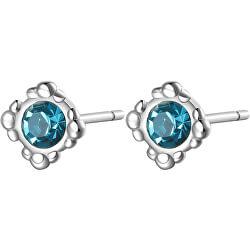 Elegantné oceľové náušnice s modrými kryštálmi CLICK SCK33