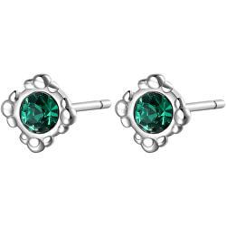 Elegantní ocelové náušnice se zelenými krystaly CLICK SCK32