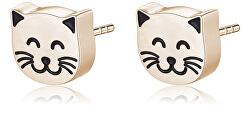 Krásne bronzové náušnice mačičky CLICK SCK155