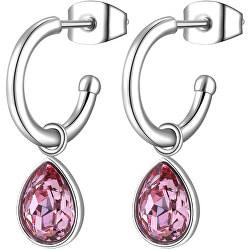 Kruhové náušnice s růžovými krystaly 2v1 Lucky Light SKT22