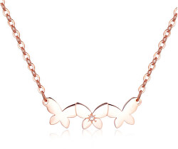 Ocelový náhrdelník s motýlky Trio SRI11