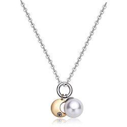 Oceľový náhrdelník s polmesiacom a perlou DAYS SDY04