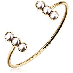 Pevný pozlátený náramok s perličkami Marylin SMY14