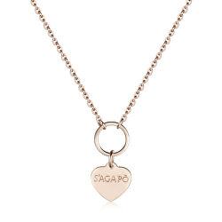 Růžově zlacený náhrdelník s přívěskem srdce Happy SHAC41