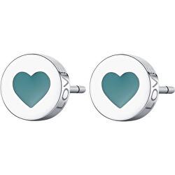 Slušivé ocelové náušnice se srdcem Click SCK51