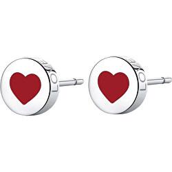 Slušivé ocelové náušnice se srdcem Click SCK52