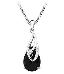 Elegantný náhrdelník s čiernym zirkónom SC387