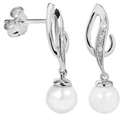 Elegantné náušnice so zirkónmi a perličkou SC284