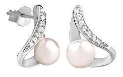 Elegantné náušnice so zirkónmi a perličkou SC298