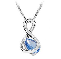 Módní náhrdelník s modrým spinelem a zirkony SC411
